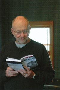 "Reading from ""Arrested Development"" at one of the scheduled ""author events."""