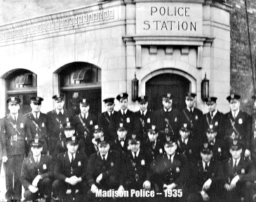 Officers outside the police station, Madison, Wisconsin, 1935