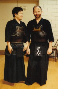With my Kendo teacher, Dr. Joji Atone.