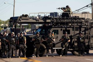Area police assemble in Ferguson, Mo.