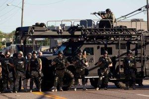 Area police assemble in Ferguson, Mo.