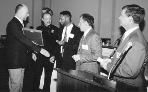 Washington, Dc, 1993 when I received the National Police Leadership Award from my colleagues who were members of the Police Executive Research Forum (PERF). Right to left: Masterson, Capt. Ted Balistreri, Noble Wray (recently retired Madison Chief of Police), Capt. Jeff Frye, and me.