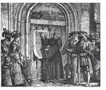 Luther nailing 95 theses to the door of the Castle Church at Wittenberg in Germany.