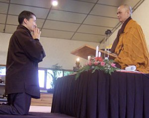 Cheri Maples and Thicht Nhat Hanh at her ordination.