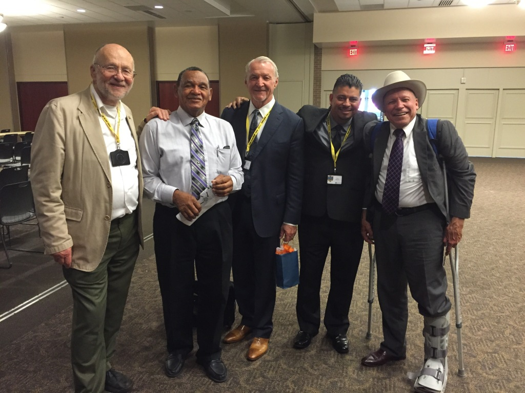 "Left to right: Me, UW Prof. Joe Lomax, Retired LAPD Capt. John Mutz, former LAPD officer Alex Salazar, and former Sheriff ""Dub"" Lawrence."